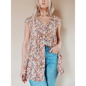Anthropologie Vanessa Floral Lace Up Tunic S